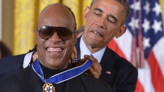 President Barack Obama presents the Presidential Medal of Freedom to musician Stevie Wonder during a ceremony in the East Room of the White House on Nov. 24, 2014, in Washington, D.C. The Presidential Medal of Freedom is the country's highest civilian honor.MANDEL NGAN/AFP/Getty Images