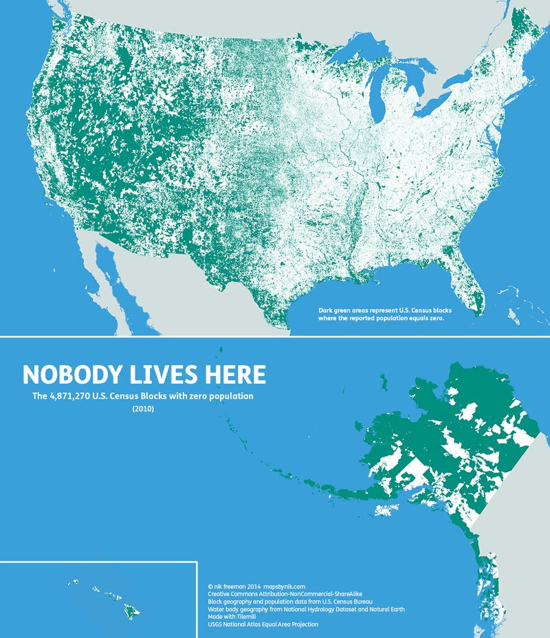 """Illustration for article titled """"Nobody Lives Here"""": A Beautiful Map Of Uninhabited America"""