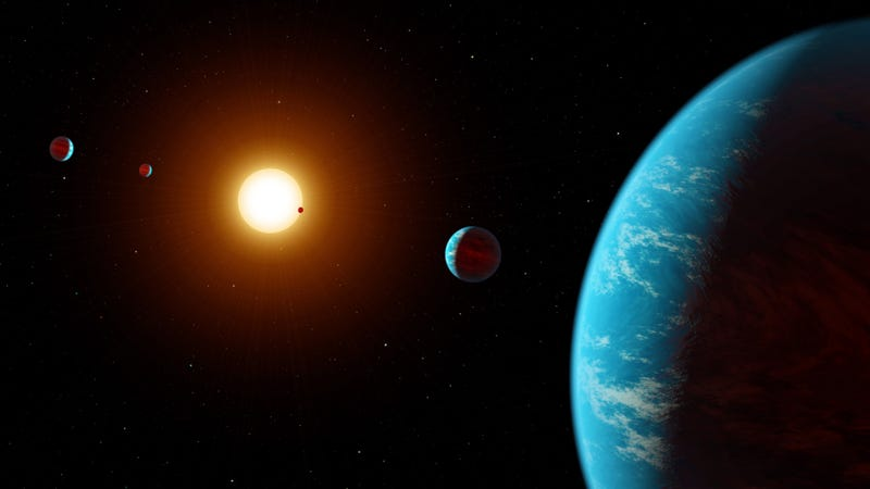 An artist's depiction of K2-138. This is brutally inaccurate, as all five planets are in close proximity to the host star. There's no way water would exist on the surface, as portrayed here. Come on NASA, you're better than this. (Image: NASA/JPL-Caltech)