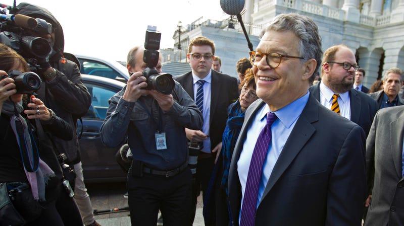 Franken leaves the Capitol after speaking on the Senate floor, Thursday, Dec. 7, 2017.