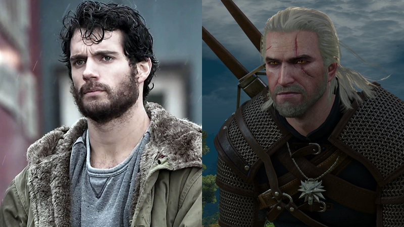 A beardy Henry Cavill in Man of Steel, and an equally beardy Geralt of Rivia in The Witcher 3: The Wild Hunt.