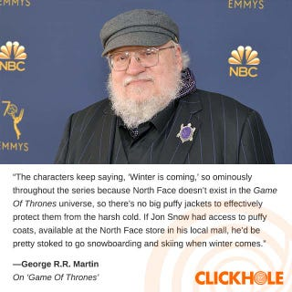 Illustration for article titled George R.R. Martin Said What?!