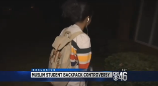 The Georgia middle schooler shows how she was carrying her backpack in class.CBS46