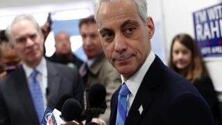 Chicago Mayor Rahm Emanuel speaks to reporters during a news conference at his campaign office April 6, 2015, in Chicago.Joshua Lott/Getty Images
