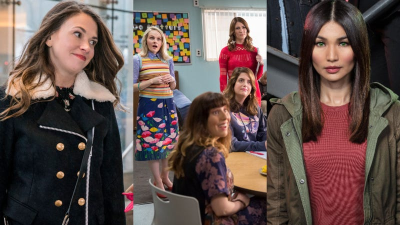 Sutton Foster in Younger (left), the cast of Teachers, and Gemma Chan in Humans