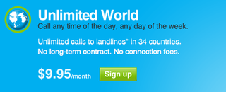 Illustration for article titled Unlimited International Skyping For $9.95 a Month From the US/Canada to 34 Countries