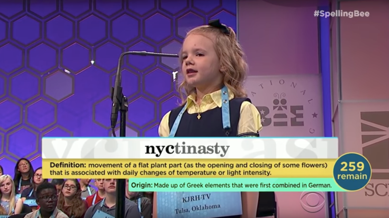 Watch a 6-year-old spell 'nyctinasty' at the National Spelling Bee