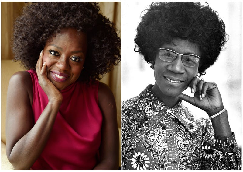 Viola Davis, during the Toronto International Film Festival in Toronto on Sept. 9, 2018, (l), and Congresswoman Shirley Chisholm, D-N.Y., the first black woman elected to Congress, in 1971. Davis is gearing up to play groundbreaking politician in a film for Amazon Studios. The company said Thursday, Nov. 29, that Davis has signed on to star in and produce the project about Chisholm, who was also the first woman to seek the Democratic Party's presidential nomination.
