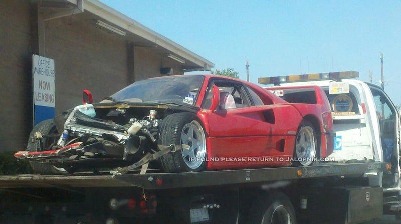 Illustration for article titled Ferrari F40 wrecked in Houston crash