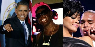 Barack Obama (Chip Somodevilla/Getty); students in blackface (via tumblr.com); Rihanna and Chris Brown (Scott Gries/Getty)