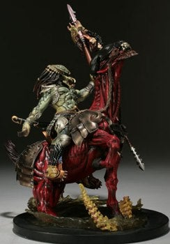 Illustration for article titled Predator Rides Skinless Alien Horse To Battle