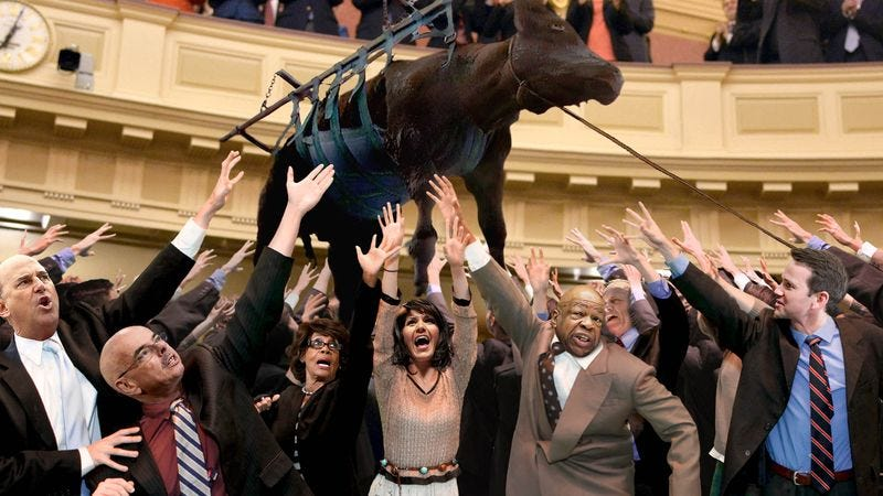 Illustration for article titled Live Cow Lowered Onto Floor Of U.S. House Of Representatives