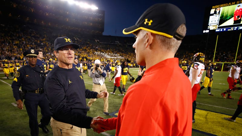 """Illustration for article titled Jim Harbaugh Won't Talk About D.J. Durkin's """"Bully Coaching"""" While At Michigan"""