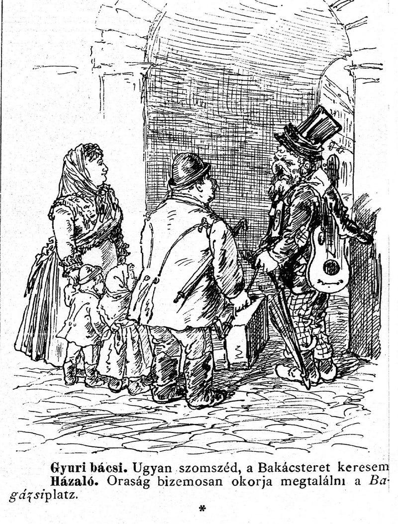 Illustration for article titled Vidéki bunkók és budapesti idegenszívűek egy 1881-es képregényben