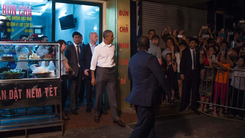 President Barack Obama leaves after eating dinner at Bun Cha Huong Lien with Anthony Bourdain in Hanoi on May 23, 2016.