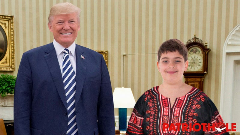 Trump To The Rescue: The Fat White Boy Who Was Expelled For Getting Fully Nude On The School Bus To Change Into His Dashiki Was Invited To The White House