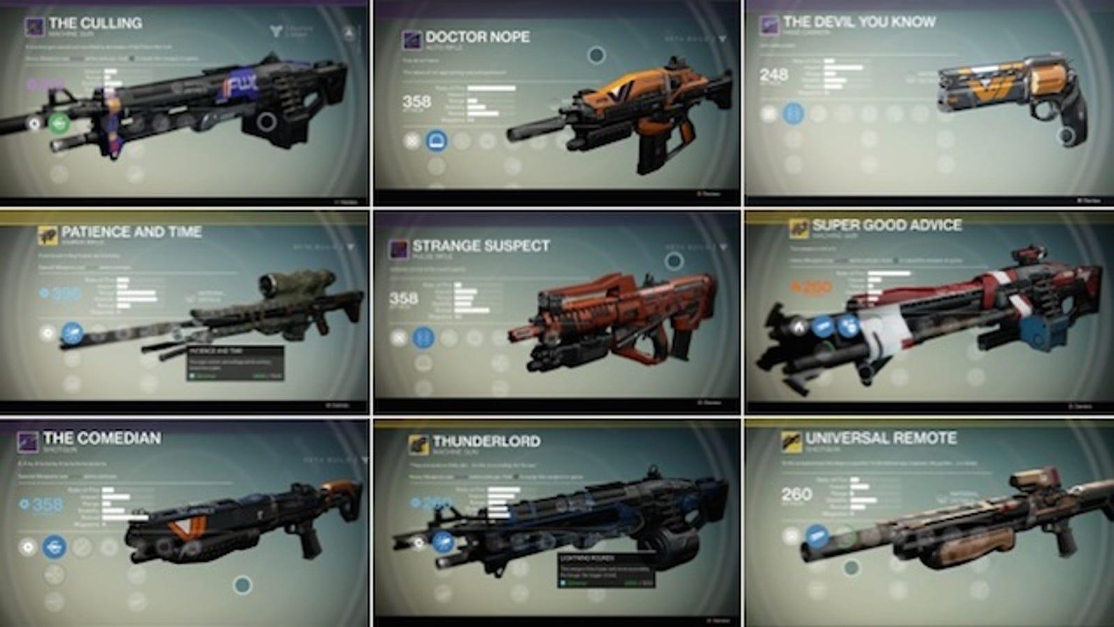 Destiny Gun Names, Ranked