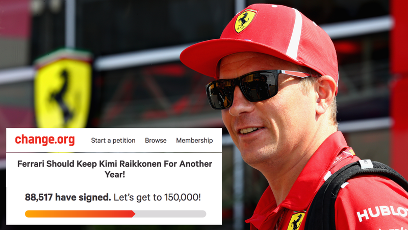Illustration for article titled More Than 88,000 People Signed a Change.org Petition to Keep Kimi Raikkonen on the Ferrari F1 Team