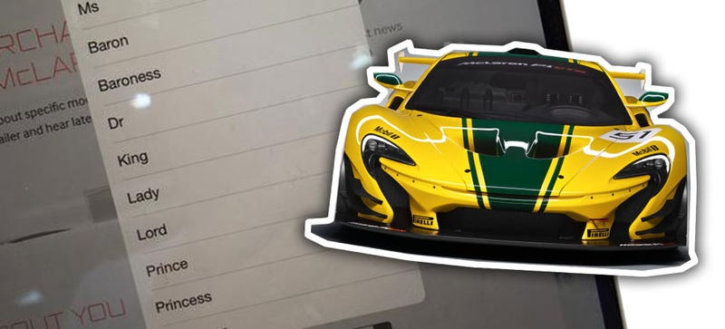 Illustration for article titled McLaren's P1 GTR Registration Has The Best Title Pull-Down Menu Ever