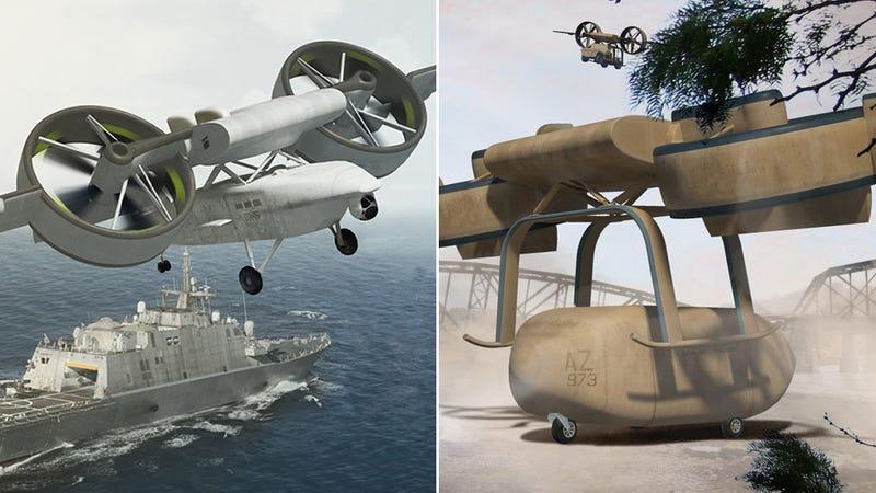 Illustration for article titled Lo nuevo de DARPA: un extraño híbrido entre coche volador y dron