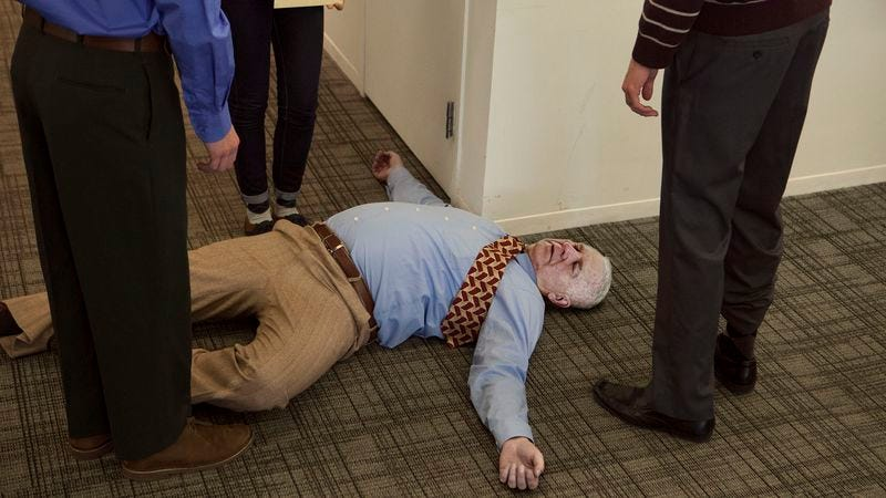 Hundreds of elderly Americans pass away in their cubicles each day with their coworkers, supervisors, and interns by their side, the report stated.