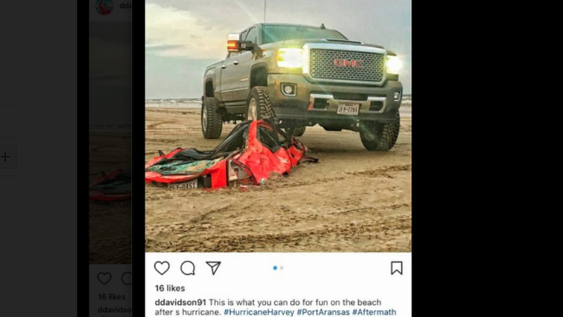 Illustration for article titled Assholes Brag About Crushing A Honda Prelude Buried On A Beach By Hurricane Harvey (Update)