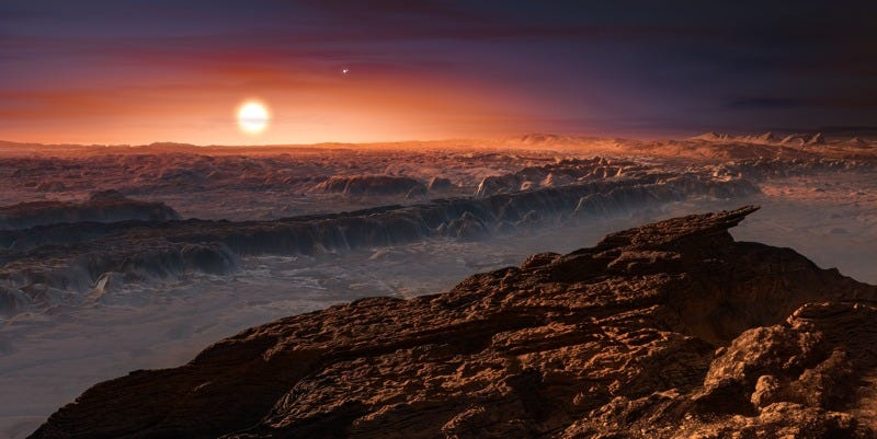 Artist's rendering of the surface of the planet Proxima b, orbiting the red dwarf star Proxima Centauri. (Image: ESO/M. Kornmesser)