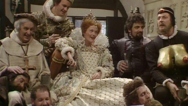 Clockwise: Daniel Thorndike, Tim McInnerny, Miranda Richardson, Rowan Atkinson, Stephen Fry, Hugh Laurie, Roger Blake, Tony Robinson (BBC One)