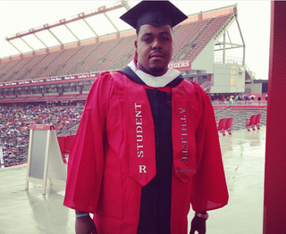 Devon Watkis, at his graduation ceremony in 2013 from Rutgers University in New Brunswick, N.J., where he was an offensive lineman on the football teamCourtesy of Devon Watkis