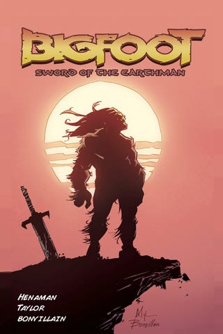 Illustration for article titled Bigfoot with a Sword on Mars = Best Comic Book Premise This Month