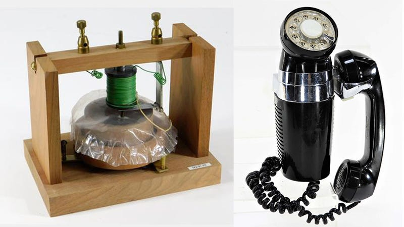 Alexander Bell Gallows Frame Phone Transmitter and C.1913 Presentational Nickel Candlestick Telephone