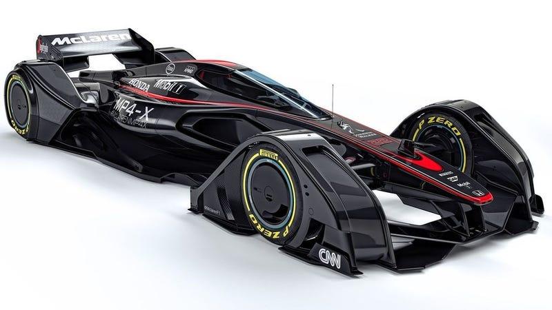 Illustration for article titled McLaren MP4-X, un concepto de Fórmula 1 a medio camino entre el batmóvil y un avión de caza