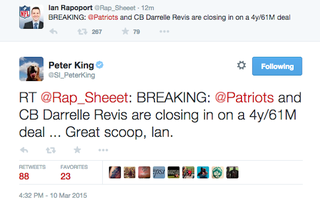 Illustration for article titled Peter King Retweets Fake Ian Rapoport Account Announcing Revis Deal