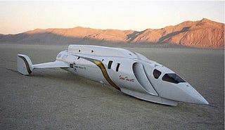 Illustration for article titled Steve Fossett's Spaceship-Like Land Speed Record Car For Sale
