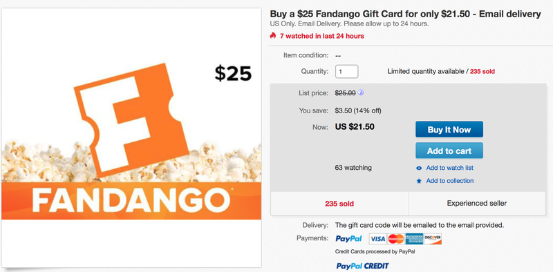 $25 Fandango Gift Card, $22