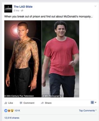 Wentworth Miller memeFacebook