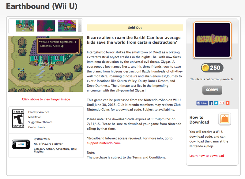 Earthbound Has Somehow 'Sold Out' On Club Nintendo [UPDATED]
