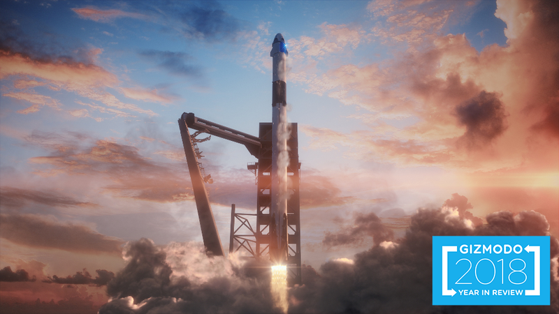 Artist's conception of the SpaceX Crew Dragon capsule atop a Falcon 9 rocket during launch.
