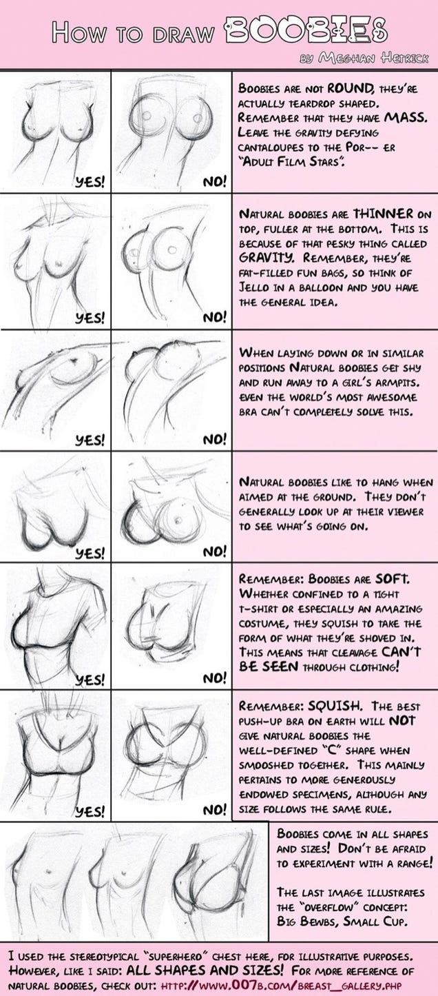 How to draw anime boobs