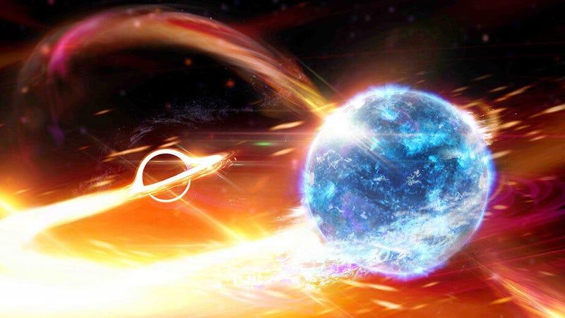 Imagen conceptual de un agujero negro absorbiendo una estrella de neutrones.