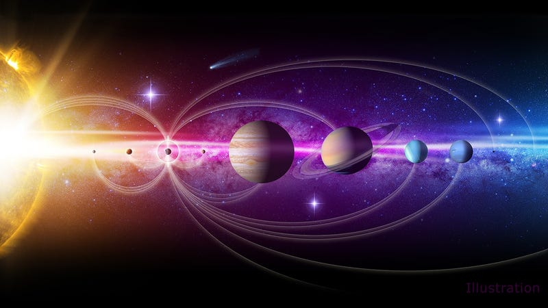 Illustration of the Solar System.