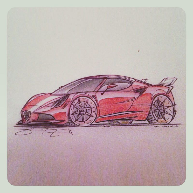 "Illustration for article titled Alfa Romeo 4C ""Stradale"" Sketch"