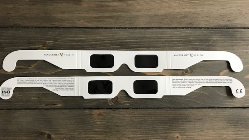 If your Vanderbilt branded eclipse glasses look like this, get them exchanged immediately. (Image: Vanderbilt Health)