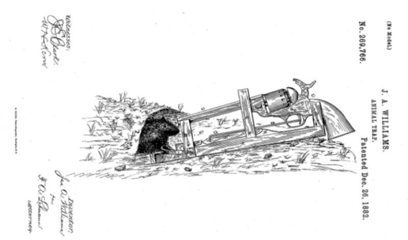 Illustration for article titled This 1882 Patent for a 50-Caliber Mousetrap Is Probably Overkill