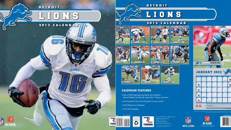 Illustration for article titled This Detroit Lions Calendar Is A Disaster In Every Way Imaginable