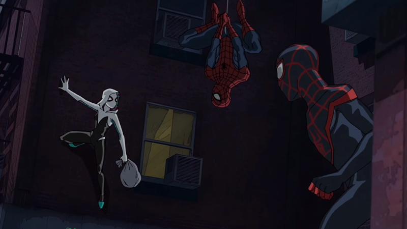 Illustration for article titled Spider-Gwen Swings Into Action in the First Footage From Her Animated Debut