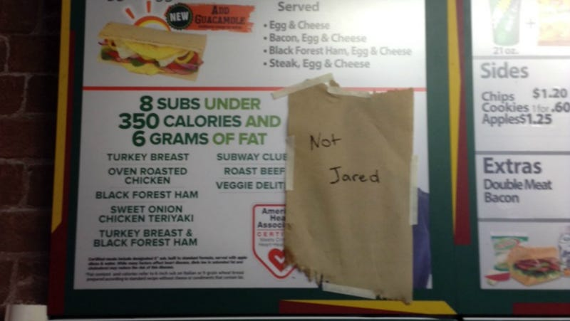 Illustration for article titled Subway Employee Gets Creative About the Company's Jared Problem