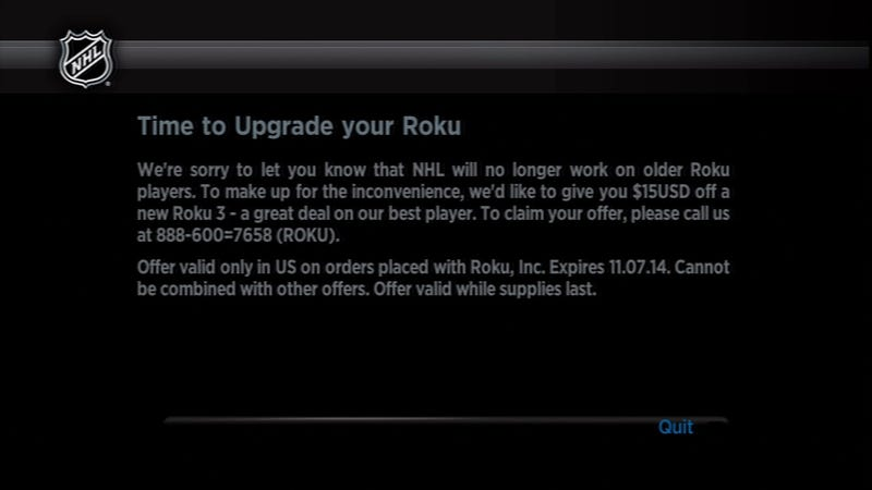 Illustration for article titled NHL, Roku Team Up To Screw Masses