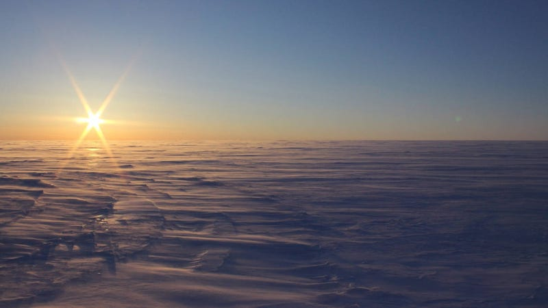 The scene on top of the Devon Ice Cap in Nunavut, Canada. Some 2,500 feet below lies a super-salty subglacial lake.
