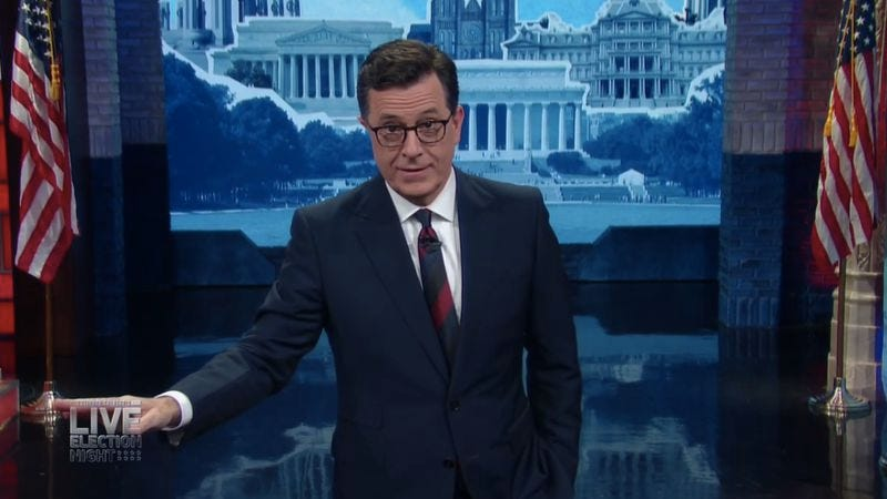 Illustration for article titled Jokes failed us, but Colbert didn't